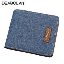 Hot men's short student casual canvas slim simple wallet men coin purse clutch purse man purse invoice wallets id card holder(China)