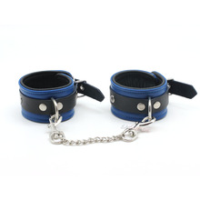 Smspade blue leather restraints wrist cuffs for adult sex, soft and durable adjustable bondage handcuffs with metal chain