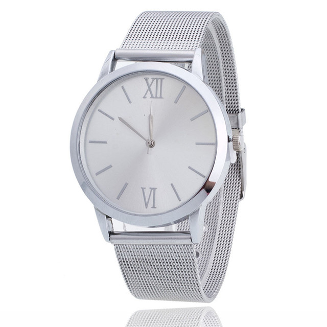 Hot Fast ShippinFashion Women Ladies Silver Stainless Steel Mesh Band Wrist Watc