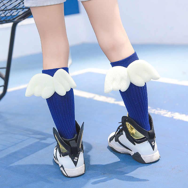 Meninos meninas anjo asa meias crianças inverno quente anti-deslizamento doce cor meias crianças longas asas no joelho design estoques nbb0019
