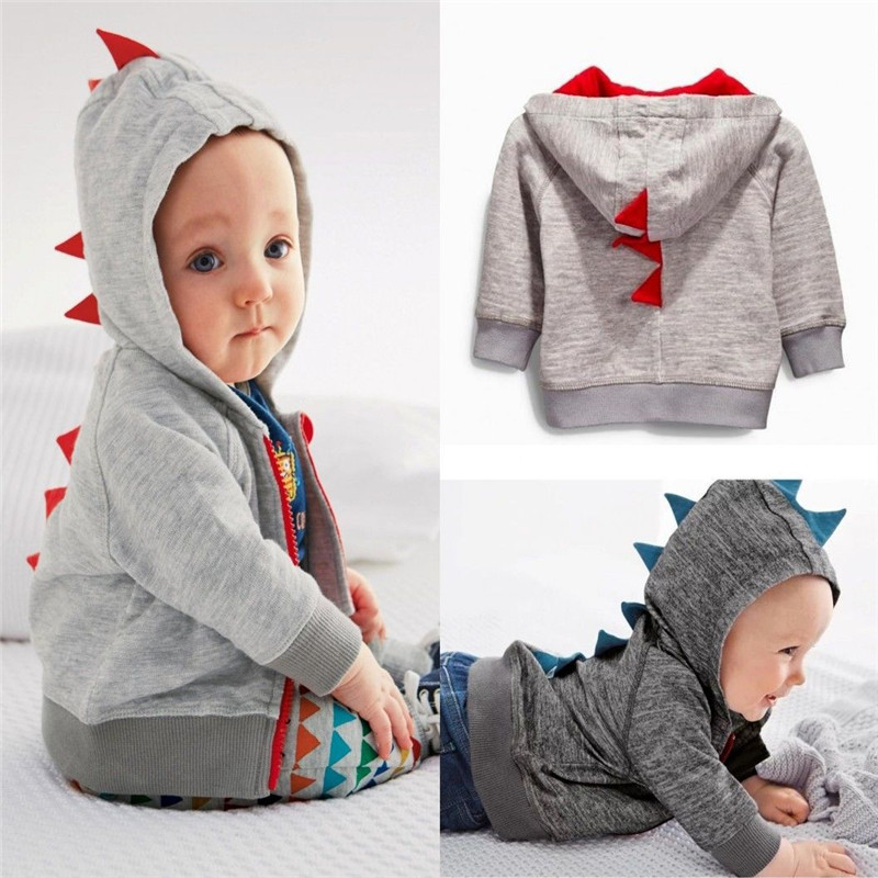 New Arrival Baby Kids Cartoon Dinosaur Autumn Coats Long Sleeve Baby Kids Cotton Zipper Hooded Jackets Outwear