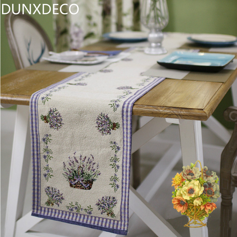 DUNXDECO Table Runner Linen Cotton Jacquard Tablecloth Spring Summer Lilac  Lavender Bar Coffee Store Mesa Cover