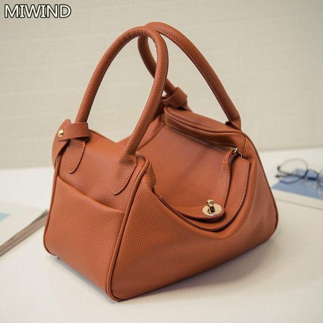 hobo bag women leather handbag vintage crossbody leisure bag buckle  Shoulder Bags female luxury top- 959b11ea14