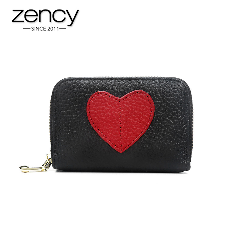 Zency Mini Short Wallet For Women Genuine Leather Heart Shape Decoration Daily Casual Coin Pocket Purse Card Holders Black Red