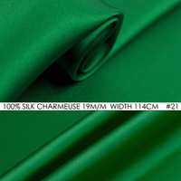 100% SILK CHARMEUSE SATIN 114cm width 19mommes Pure Mulberry Silk Fabric/China Wedding Dress Fabric Suppliers Bamboo Green NO 21