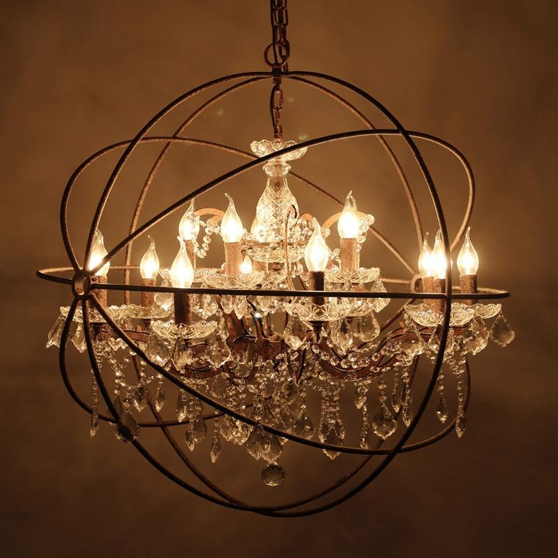rh industrial lighting restoration hardware vintage crystal chandelier pendant lamp orb chandelier living room cafe lighting