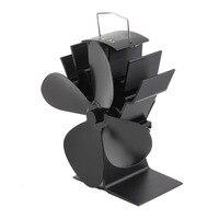 Heat Powered Stove Fan Fuel Saving Stove Durable 4 Blades Aluminum Black Fan Eco Friendly Wood