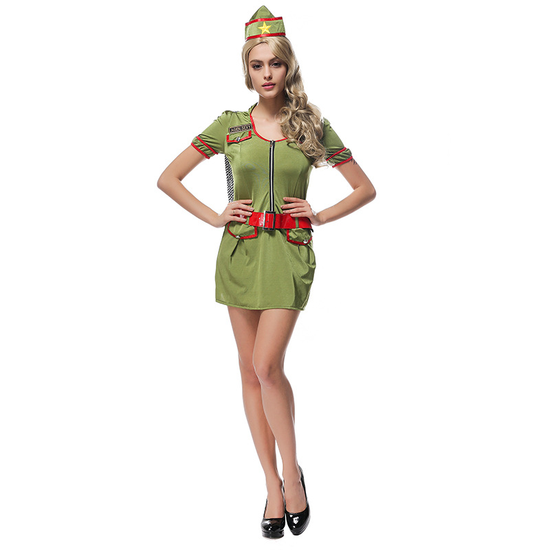 Modern Sexy Drillmaster Green Dress Cosplay Costume Halloween Clubs Party New Arrival Police Women Uniform Fancy Dress For Girl
