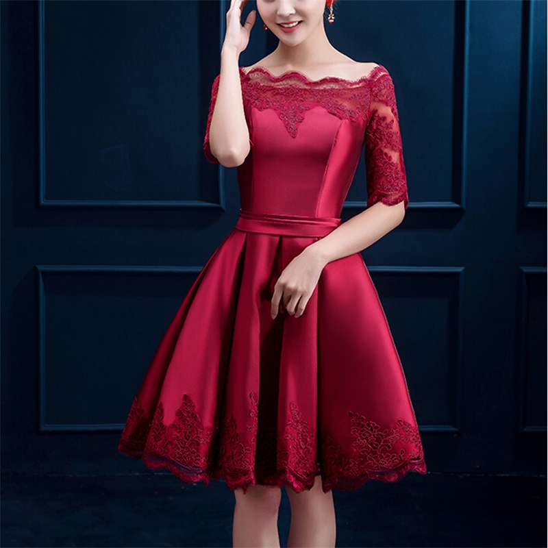 Elegant Evening Dresses With Half Sleeves Appliques Girls Women Gown Short Ball Prom Party Pageant Graduation Formal Dress