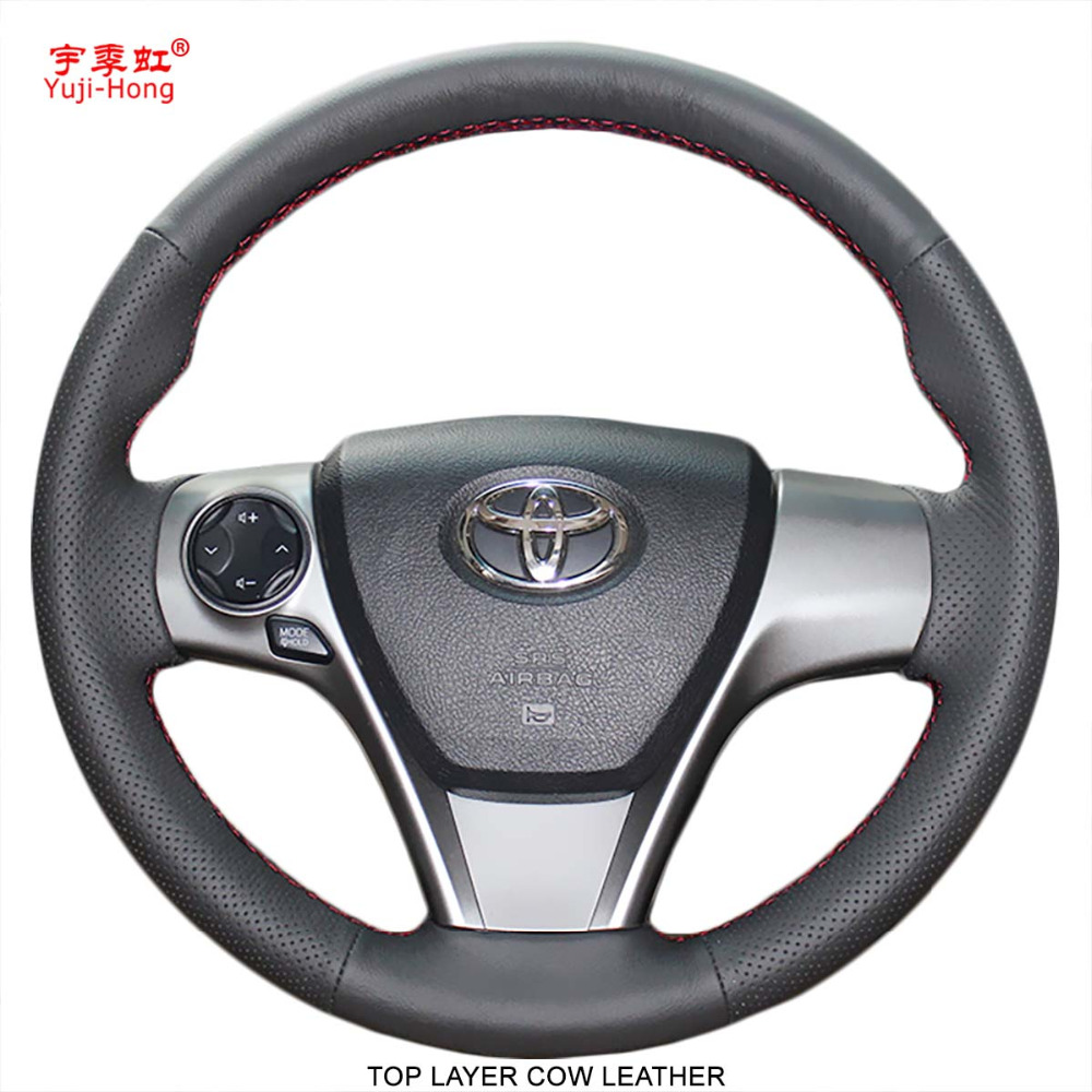 hight resolution of yuji hong genuine leather car steering wheel covers case for toyota camry 2012 venza 2013 camry sports top layer cow leather
