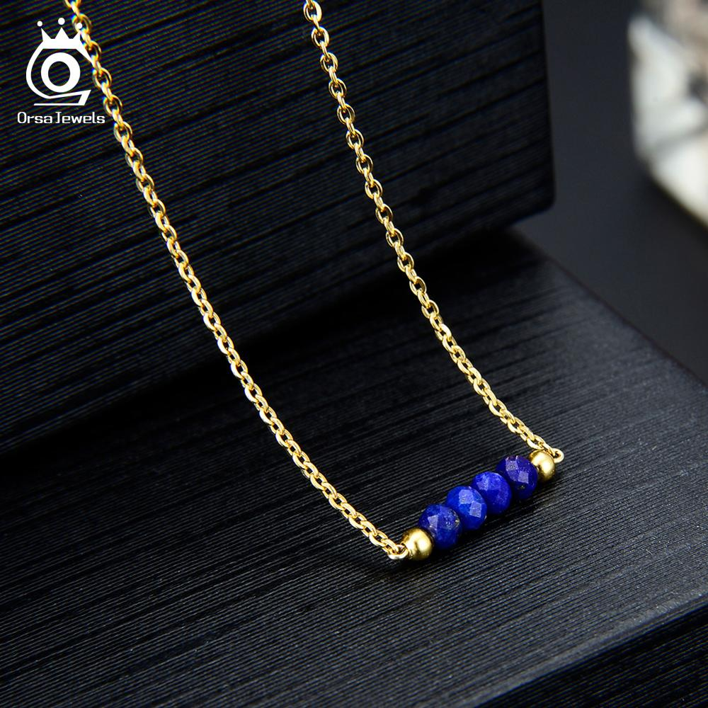 ORSA JEWELS Natural Stone Necklace For Women 18K Gold Plated Lapis Lazuli Blue Stone 925 Silver Necklaces Fine Jewelry OSN153 L in Necklaces from Jewelry Accessories