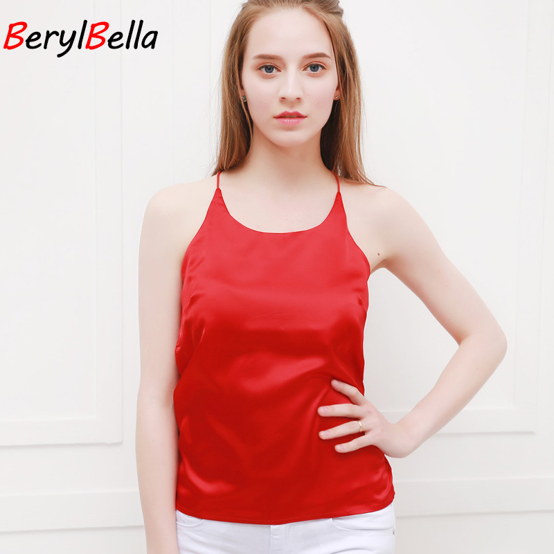 BeryBella Women Chiffon Camis Roupas Slik 2018 Summer Style Female Solid Black Sleeveless Camisole Sexy Pink Halter Top Tanks
