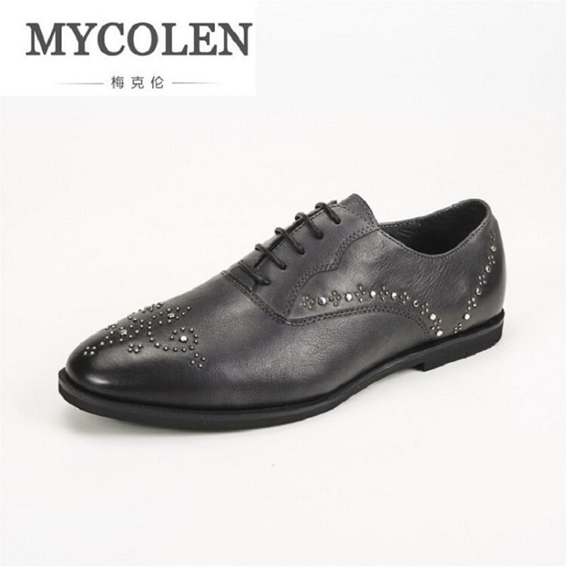 MYCOLEN Luxury Leather Rivet Brogue Mens Formal Shoes Flats Shoes British Style Men Oxfords Brand Banquet Dress Shoes For Men qffaz new 2018 luxury leather brogue mens flats shoes casual british style men oxfords fashion brand dress shoes for men lace up