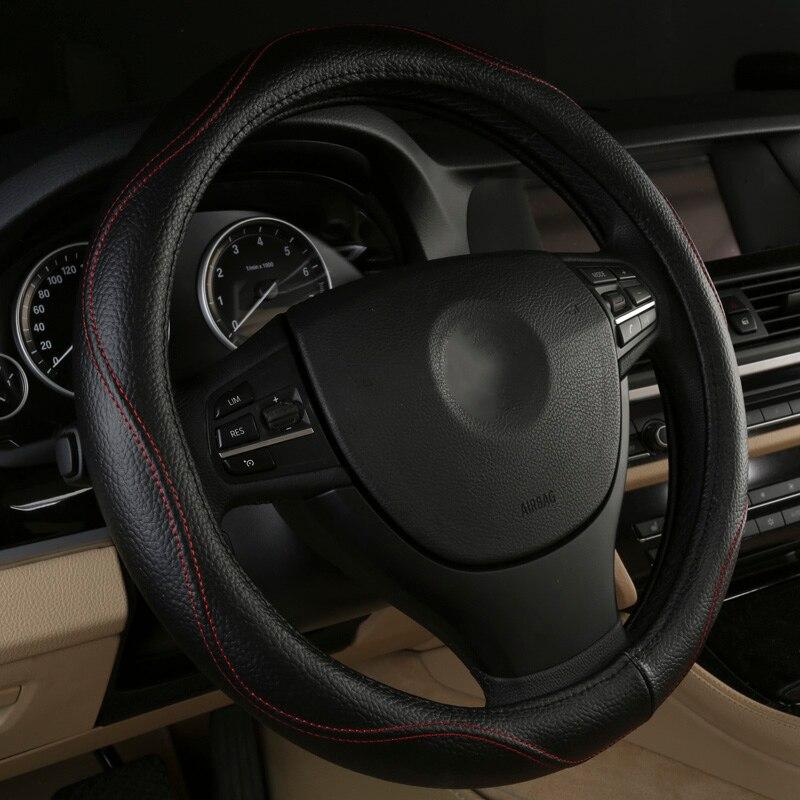 Black Beige Brown Gray car steering wheel cover for BMW X1 E84 F48 X3 E83 F25 Z4 Toyota Land Cruiser Prado200 Auto Accessories