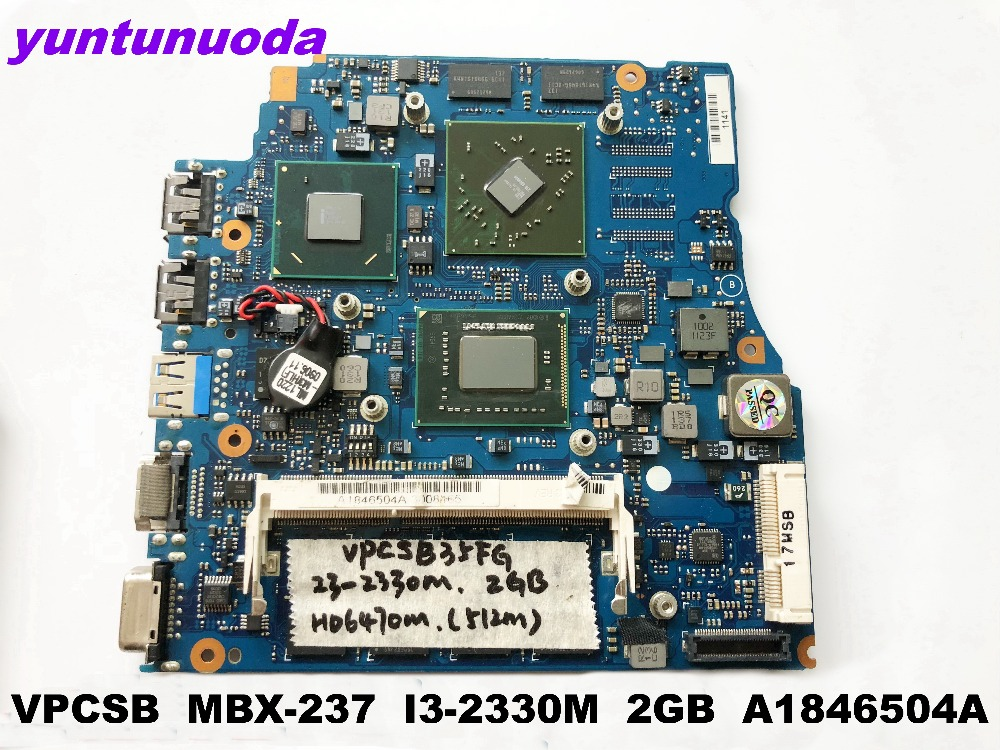 Original For SONY VPCSB Laptop Motherboard  MBX-237  I3-2330M  2GB  A1846504A Tested Good Free Shipping