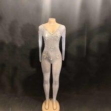 bf6381cbca64 2019 Fashion Bodysuit Stretch Crystals Jumpsuit Sexy Rhinestones Leggings  One Piece Women Nightclub Jazz Dance Stage Costume
