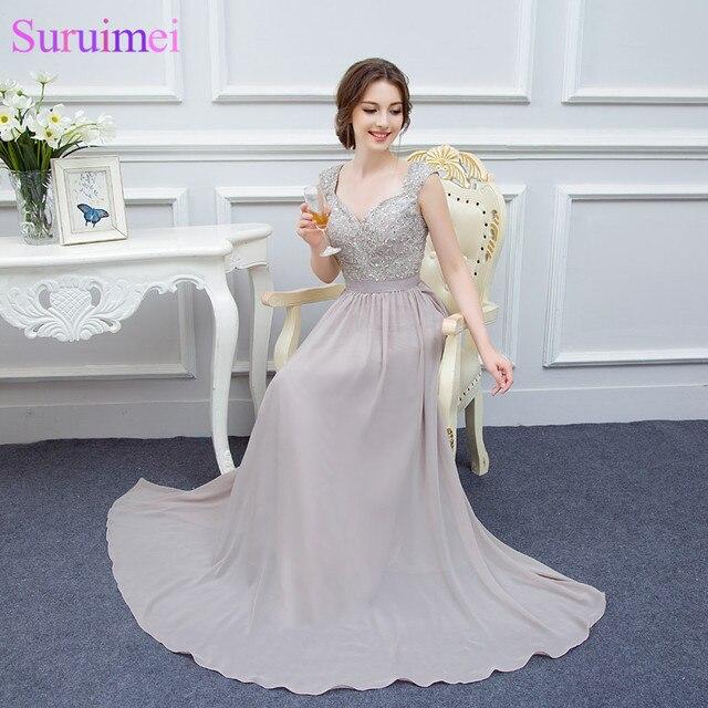c5b2a8d2cb0 Silver Gray Cap Sleeves Evening Gown Lace Applique Back See Through Chiffon Evening  Dresses Formal Vestidos De