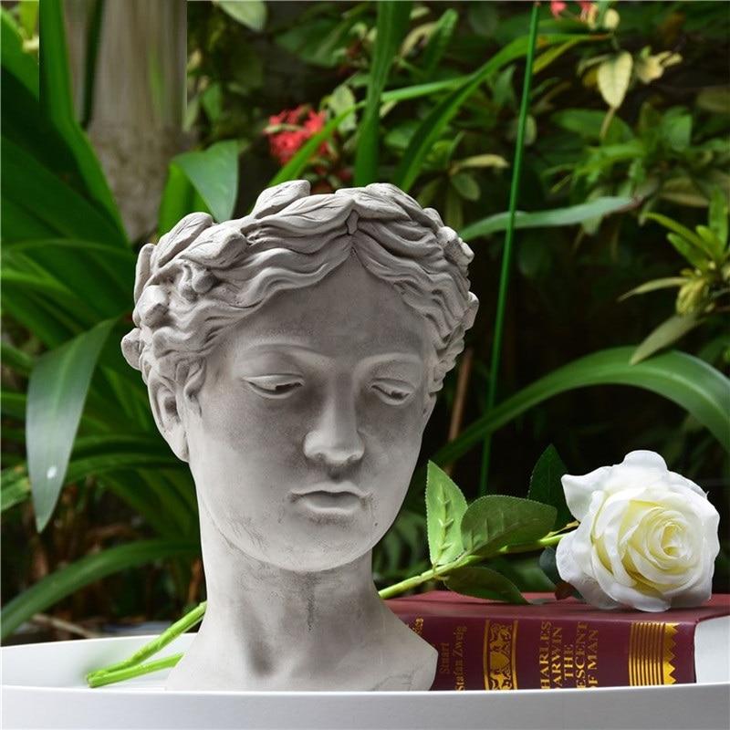 Roman Mythology Venus Statue Cement Vase Figurines Home Decoration Goddess Head Flowerpot Greek Succulents L3240Roman Mythology Venus Statue Cement Vase Figurines Home Decoration Goddess Head Flowerpot Greek Succulents L3240