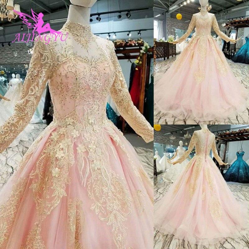 AIJINGYU robe de bal robe de mariée russe robes blanches Dressings Train grande taille pour mariée Western dentelle corsage Weddingdress 2018
