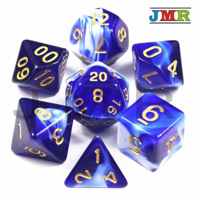 7 PCS Trpg dados para Dungeons & Dragons D4-D20 Multi Faces Jogos Dices Poliédrico 7 Cor Desktop Definido, como Kit Brinquedo