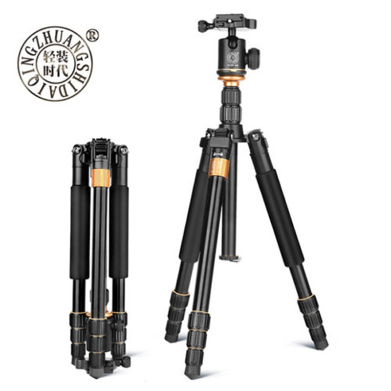 QZSD Q999s Portable Pro  Aluminum Alloy Tripod Monopod & Ball Head Compact Travel For DSLR Camera Hot