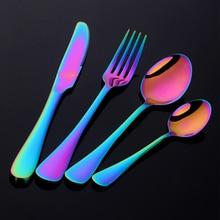 ФОТО 2018 24pcs/set stainless steel rainbow cutlery dinnerware set western food tableware dinnerware set christmas gift drop shipping