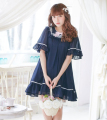 3 Color Summer women princess sweet preppy style fresh young girl half sleeve loose chiffon loose doll navy cute one-piece dress