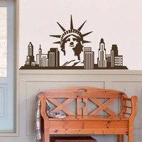 JJRUI Thành Phố New York Statue Of Liberty USA Phòng Khách Tường Stickers Decals Vinyl DIY Nghệ Thuật Decals Trang Trí Nội Thất