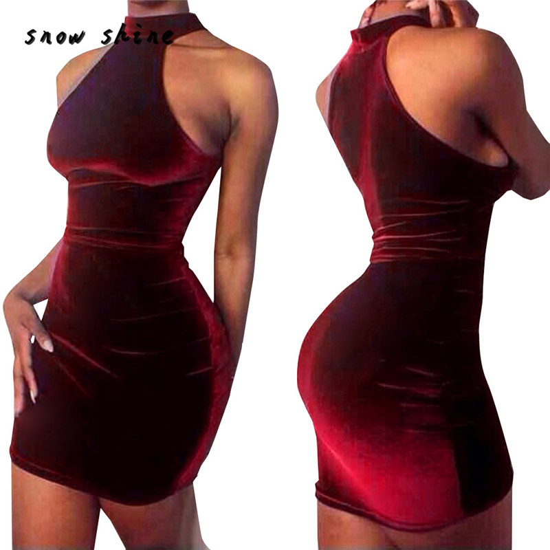 snowshine YLI Women Sexy Velvet Sleeveless Casual Dress Hanging Neck Halter Dress free shipping