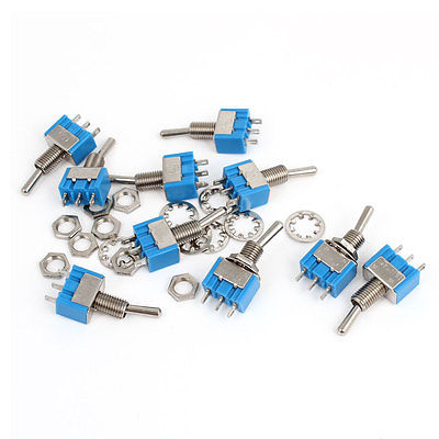 10Pcs AC 125V 6A 3 Pin ON/ON 2 Position SPDT Miniature Toggle Switch Blue