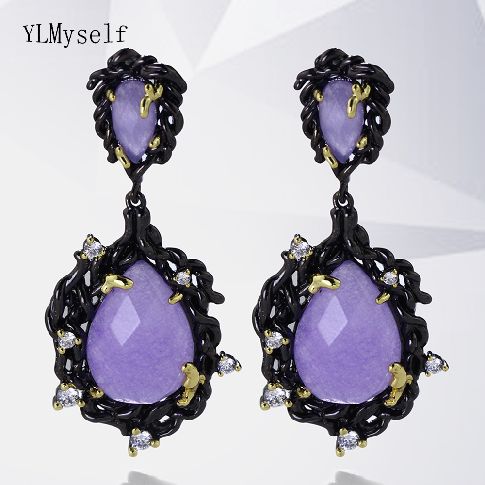Large Teardrop earrings with Big Crystal Purple Stone Long chandelier design In Black Gold color Big Classic Earrings майлз дэвис miles davis ascenseur pour l echafaud 3 lp