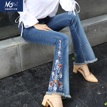 Free Shipping 2019 Fashion Embroidery Flare Pants For Tall Women Chinese Style Tassels Stretch Trousers Plus Size 26-33 Jeans цена 2017