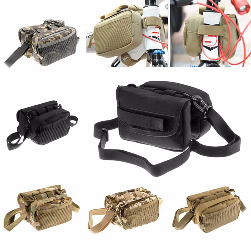 Military Waterproof Bicycle Bag Pannier Molle Bike Front Tube Bag Utility Shoulder Bag Mountain Road MTB Bike Frame Bag 2 Sides coolchange waterproof bike bag frame front head top tube cycling bag double ipouch 6 2 inch touch screen bicycle bag accessories