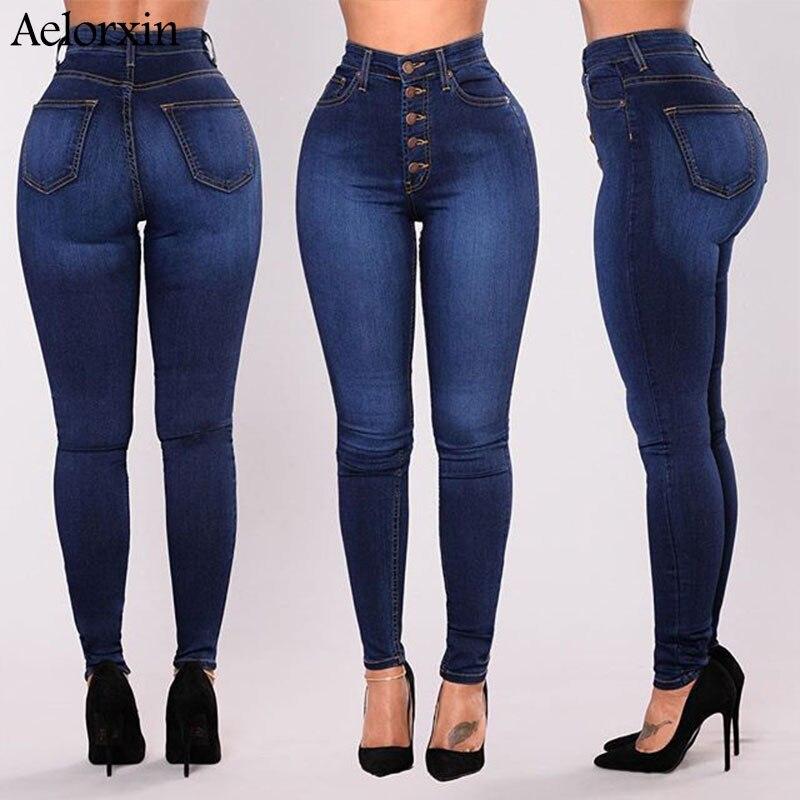 Plus Size Slim Jeans for Women Skinny High Waist Jeans Large Size Five Buckle Elastic Pencil Pants Women Jeans