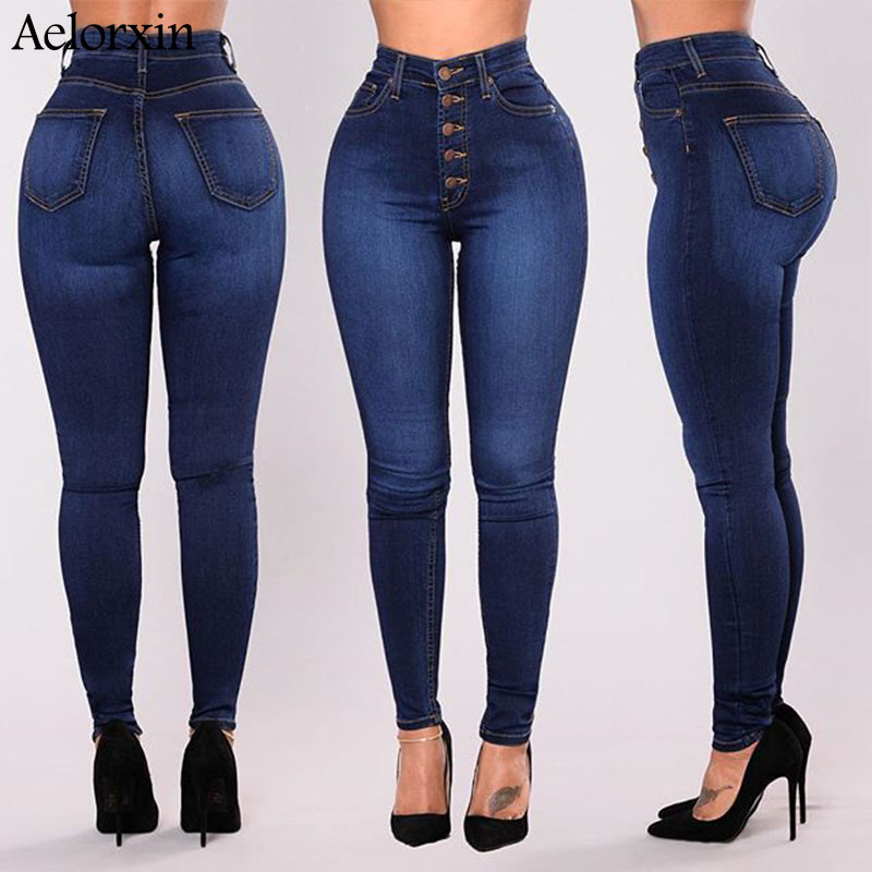 S~4XL 2019 Slim Jeans For Women Skinny High Waist Jeans Large Size Five Buckle Elastic Pencil Pants Women Jeans