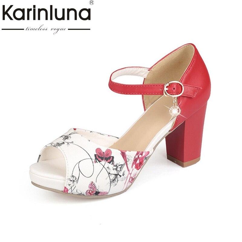 KARINLUNA 2018 New Small Big Size 33 43 High Heels Women Shoes Sweet Printing Peep Toe