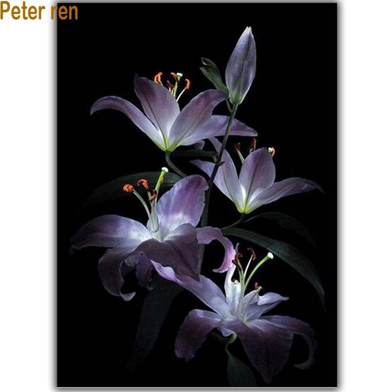 Lilla lilje diamant broderi blomster diy diamant maleri 3d firkantet diamant mosaikk håndverk perle brodering full rhinestones