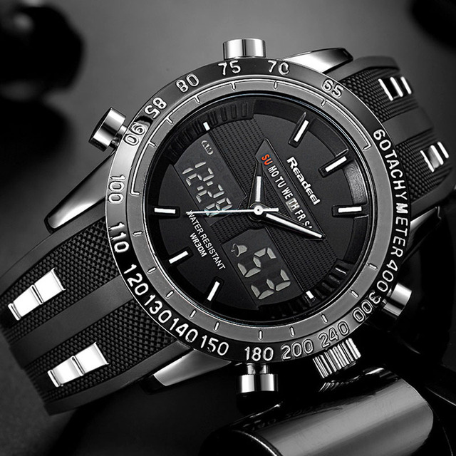 新 2018 ブランド readeel 男 led ディスプレイ高級メンズ腕時計デジタル軍事メンズクォーツ腕時計レロジオ masculino