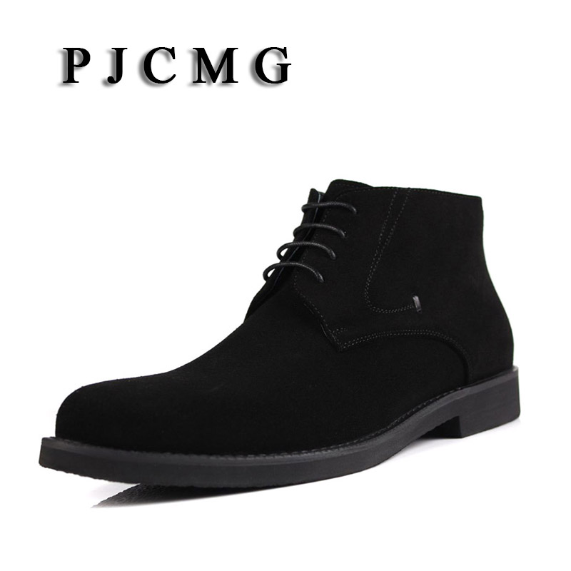 PJCMG High Quality Men Boots Lace Up Ankle Waterproof Rubber Casual Genuine Leather Military Boots For