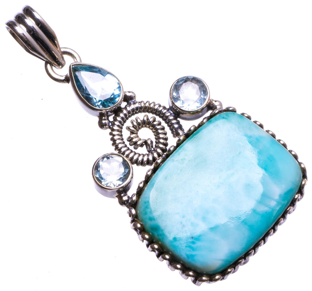 Natural Caribbean Larimar and Blue Topaz Handmade Unique 925 Sterling Silver Pendant 2 X1597