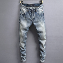Italian Vintage Designer Men Jeans Light Blue White Wash Slim Fit Ripped Jeans Men Hip Hop Buttons Pants Brand Classical Jeans light wash tapered fit nine minutes of jeans