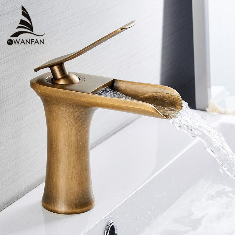 цена на Basin Faucets Waterfall Bathroom Faucet Single handle Basin Mixer Tap Bath Antique Faucet Brass Sink Water Crane Silver 6009