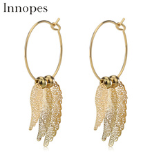 Innopes Korean geometric earrings hollow leaves vintage womens fashion safety pin