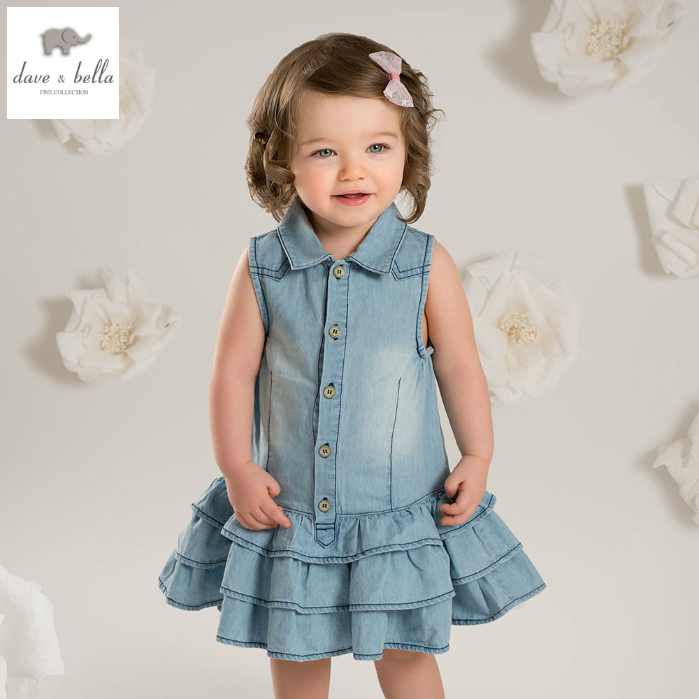 DB4865 dave bella summer baby girl princess baby denim kids birthday clothes girls lolita