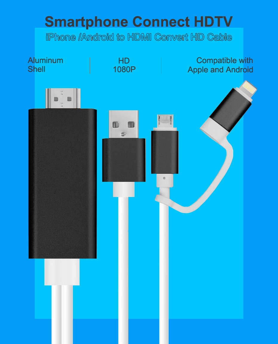 2 in 1 MHL Cable Converter for Lightning Android Micro USB to HDMI ...