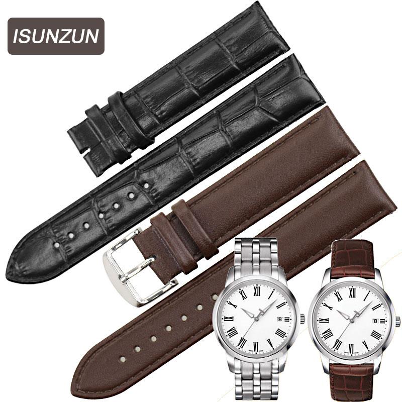 ISUNZUN Տղամարդկանց և կանանց համար Watch ժապավեն Tissot T033 Classic Series T033.410 Watchbands Ոճի Կաշվե ժամացույցի ժապավենով ժապավենի ժապավեն