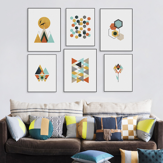 Modern Geometric Abstract Shape Mountain A4 Art Print Poster Nordic Wall  Picture Living Room Home Decor