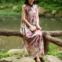 Hisenky Women Summer Sundress Folk Tank Dress Rayon Floral Dresses Sleeveless Cheongsam Elegant Chinese Clothing Robe Femme