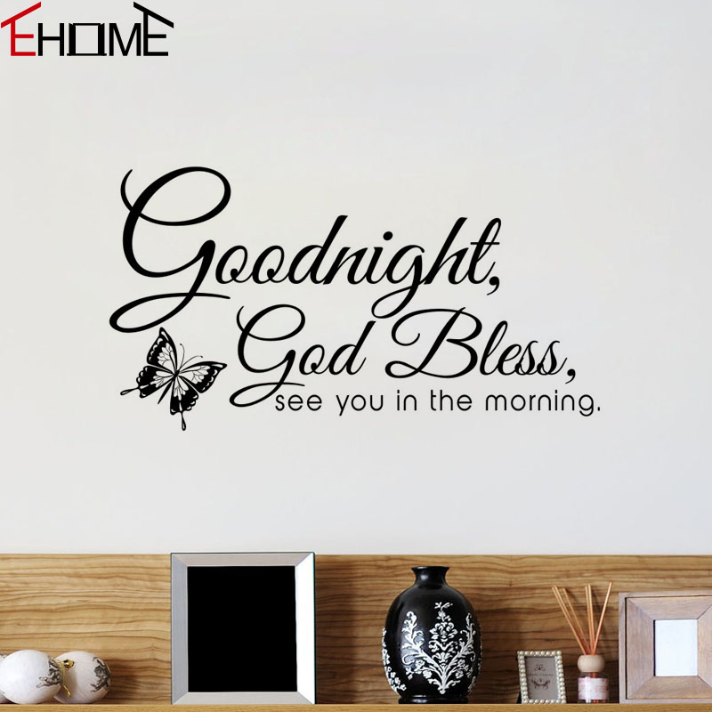 Goodnight God Bless Wall Stickers Quotes Bedroom Decorations