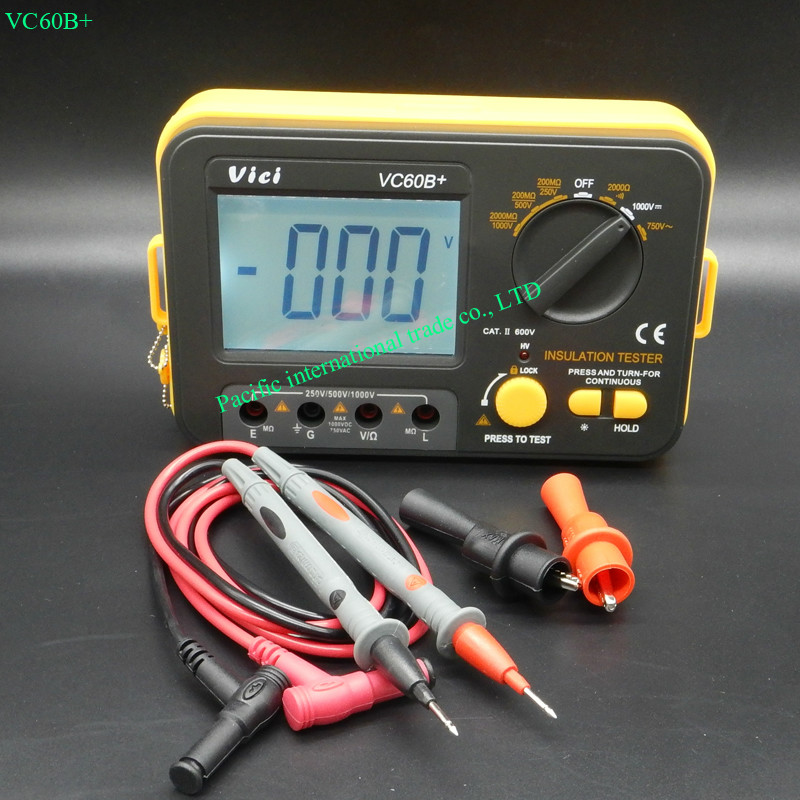 VC60B+Digital Insulation Resistance Tester Megger DC 250V/500V /1000V High voltage and short circuit alarm buzzer alarm function as907a digital insulation tester megger with voltage range 500v 1000v 2500v